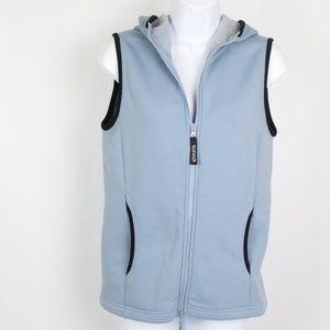 Athleta light blue hooded vest jacket fleece lined